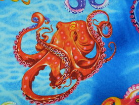 輸入 USAコットン 生地 布 Octopus オクトパス C6149-Ocean 入園入学 タコ たこ 蛸 タイムレストレジャーズ 商用利用可能