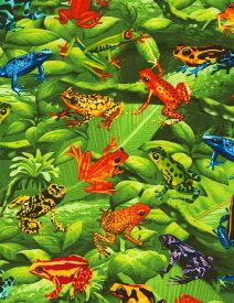 C6474 輸入 USAコットン 生地 布 ツリーフロッグ C6474-Green 爬虫類 カエル タイムレストレジャーズ 商用利用可能