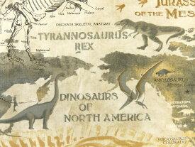 輸入 USAコットン 入園入学 生地 布 ダイナソーマップ C5725 タイムレストレジャーズ 恐竜地図 骨格恐竜 商用利用可能