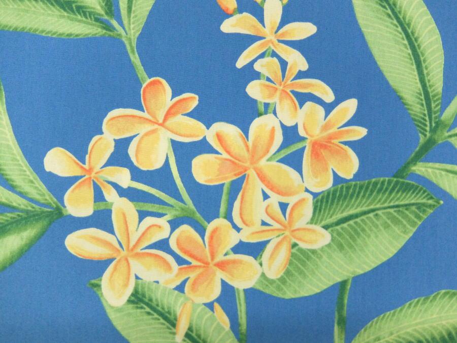 TR11920B 輸入 生地 布 USAコットン ハワイアン柄 プルメリア 花柄 ボタニカル TR11920ブルー 老舗アロハシャツブランド
