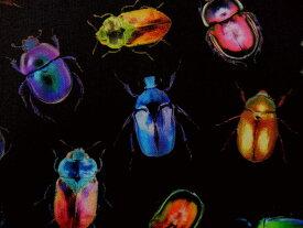 生地 布 輸入 USAコットン エレクトリックガーデン Q4523−667-Light-Bright ホフマン 昆虫 甲虫 コガネムシ 商用利用可能