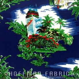 輸入 生地 布 USAコットン Hawaiian ハワイアン BBHC1083-19-Navy ホフマンカリフォルニアファブリックス 商用利用可能