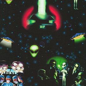 ポイント10倍 生地 布 輸入 USAコットン エリア51 AXED19544-283 宇宙柄 UFO 宇宙人 グレイ ロバートカフマン 商用利用可能
