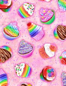 輸入 USAコットン 生地 布 レインボーカップケーキ C7478-Pink タイムレストレジャーズ スイーツ お菓子 商用利用可能