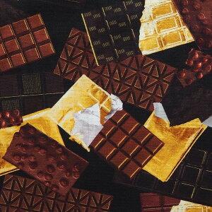 輸入 USAコットン 生地 布 14カラットチョコレート 9844-12BLACK 板チョコレート ベナーテックス カンヴァス 商用利用可能