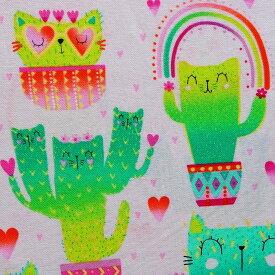 輸入 USAコットン 生地 布 クォーキー キャッツ カクタイ C8237-PINK 猫 ネコ キャット タイムレストレジャーズ 商用利用可能