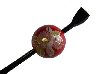 Beijing Jade Hairpin (lacquer type, Jade Hairpin) Red / Camellia ★ kuroneko non ★