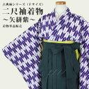 【あす楽】二尺袖着物 矢絣 紫(単品) 卒業式 袴(はかま) 洗える素材 古典柄 幾何学 矢羽根 矢羽