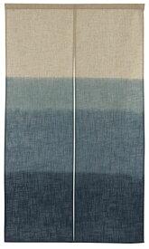 のれん 段ぼかし柄 和風 手捺染 ロング (幅 85 cm x 長さ 150 cm) 日本製 リビング 玄関 藍色 緑色