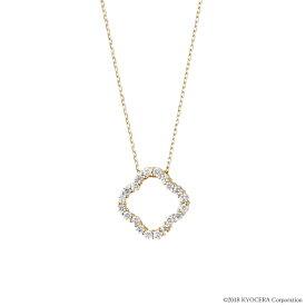 ダイヤモンド ネックレス K18イエローゴールド 0.2カラット クローバー プレゼント 天然石 京セラ