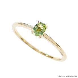 ペリドット リング 指輪 K18イエローゴールド オーバル ストレート パレット 8月誕生石 プレゼント 天然石 京セラ