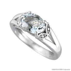 アクアマリン リング 指輪 K18ホワイトゴールド 1カラットUP オーバル8mm*6mm リーフ 3月誕生石 プレゼント 天然石 京セラ