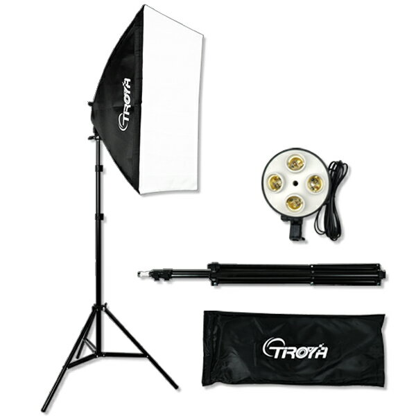 【1年保証】4灯スタジオライト スタンド ソフトボックス付 撮影 照明セット 写真撮影 照明機材キット蛍光灯使用 組み立て説明書付き■427