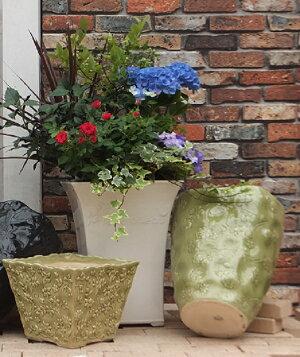 【15%OFF】観葉鉢[173-106L-01]10号植木鉢陶器観葉植物寄せ植え大型正方形おしゃれ可愛いガーデニングインテリア(サイズ一辺30.0×高さ40.0cm)