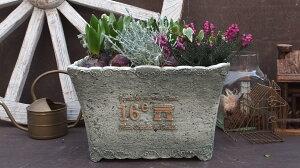 【15%OFF】植木鉢プランターファイバーストーン[194-943M]10号おしゃれ可愛い大型長方形花アンティーク風ガーデニング