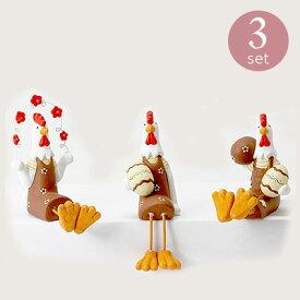 【良品 アウトレットセール】オーナメント 3個セット [852-006] ガーデン雑貨 ニワトリ 鶏 置物 可愛い カントリー ガーデンアクセサリー ガーデニング (サイズ高さ9.0cm)
