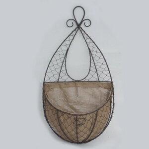 アンティーク風ワイヤープランター150-015S/寄せ植え用/ハンギング/壁掛け/麻布付