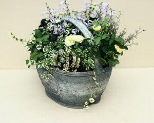 【15%OFF】植木鉢プランターファイバーストーン[194-963S]8号おしゃれ可愛いオーバル形花アンティーク風ガーデニング