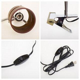 LEDクリップライトデスクライト間接照明ベッドサイドライト1灯E17LED対応北欧モダンおしゃれスタンド卓上ライトテーブルランプスタンドランプフレキシブルアーム360度回転プラグ照明器具
