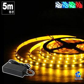 LEDテープライト 5m SMD3528 100V LEDテープ イルミネーション 電球色 昼光色 白 赤 緑 青 カウンタ照明 天井照明 間接照明 棚下照明 ショーケース照明 バーライト LEDイルミネーション