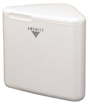 汚物入れ・サニタリーボックス L・トイレコーナー AL三角型(容量約3.2L) (山崎産業)[TE-12L-PC] プラスチック製・樹脂製 女性トイレ用ごみ箱/シンプルでコンパクトな業務用・ご家庭用トイレ備品/蓋付・内袋付/定番のダストボックス ゴミ箱です