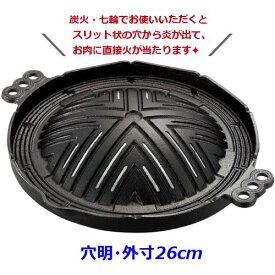 IK 鉄 ジンギスカン鍋 穴明 ※外寸26cm※ 焼肉・ジンギスカン鍋、穴あき (7-2035-0801)
