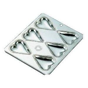 製菓用品・プチケーキ・焼菓子型 お菓子作り・道具 ブリキ マフィン型 ハート型 6カップ (7-1040-0801)