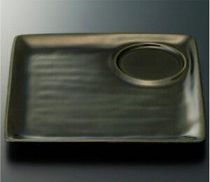 耐熱ABS製 和器彩才 遊器四方皿(織部塗)(228×228×18mm) スリーライン[HPP-23ORB] 食器 プラスチック製 ワンプレート ランチ皿 陶器調