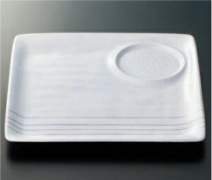 耐熱ABS製 和器彩才 遊器四方皿(白パール/銀線)(228×228×18mm) スリーライン[HPP-23WP] 食器 プラスチック製 ワンプレート ランチ皿 陶器調