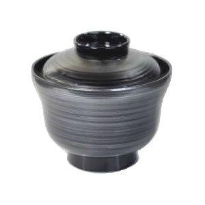 [60個入]特売品 食洗機対応/食器洗浄機対応 汁椀(身・蓋セット)耐熱ABS製 3.5寸えびすかすみ椀 銀刷毛目(ふた付き汁椀)(φ105×96)(320-107-80)