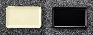 メラミン 和風食器アイテム 切手盆・小 黒・アイボリー (185×112×15mm) マンネン/萬年[118S] 業務用 プラスチック製 メラミン製 樹脂製 和食器 トレー お盆 トレイ 角 ルームトレー