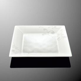 メラミン オーベルジュ 20cm角平皿 (200×200×H24mm) アラベスク [E112AQ] マルケイ 業務用 食洗機対応 割れにくい 丈夫 プラスチック食器