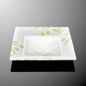 メラミン オーベルジュ 20cm角平皿 (200×200×H24mm) オリーブ [E112OL] マルケイ 業務用 食洗機対応 割れにくい 丈夫 プラスチック食器