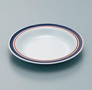 メラミン製 ブルーライン 23cm スープ皿 スリーライン[SF-101/SF-101BL] 食器 皿 プレート 洋食器 プラスチック製 樹脂製 カフェ 飲食店 ホテル
