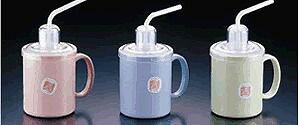 介護・自助食器:マグカップ 自分で持って飲める!蓋つきでこぼれにくいから安心 ストロー付マグカップHS-N4 ブルー(7-2353-0902)