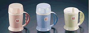 介護・自助食器:マグカップ 自分で持って飲める!蓋つきでこぼれにくいから安心 吸水付マグカップHS-N12 ブルー(7-2353-1002)