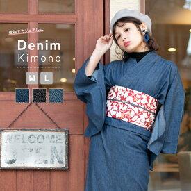 (女単衣 デニム) 着物 デニム レディース 洗える 洗える着物 単衣 デニム着物 女性 綿 M/L