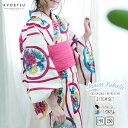 (浴衣3点セット ガールズ レトロ) 浴衣 子供 女の子 セット 作り帯 ジュニア (浴衣/作り帯/下駄) 16colors 140/150