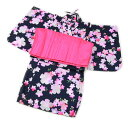 女の子 変わり織キッズ浴衣ツーピース帯付き3点セット「紺地になでしことさくら」 90 100 キッズドレス ワンピースタ…