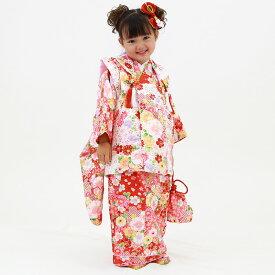 【レンタル】七五三 着物 3歳 レンタル 被布着物8点フルセット 赤地にねじり梅と牡丹 被布:白