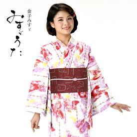 浴衣 レディース みすゞうた ゆかた 女性 浴衣 ブランド浴衣 かわいい 大人 可愛い yukata 仕立上がり プレタ 浴衣 フリーサイズ クリーム 金魚 白地 ly113