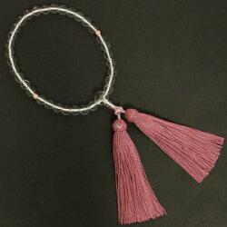 【念珠】女物数珠水晶(珊瑚入り)J1103