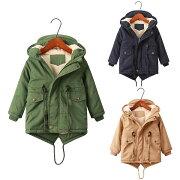 クリスマス色120cm130cm140cm150cm子供服子供コート女の子中綿ジャケット韓国子供キッズ裏ボア防寒ジャケットアウターファーコート子供アウター