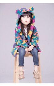 送料無料 韓国子供服 女の子 ダッフルコート 裏起毛ダウンコート長袖 フリース もこもこ ジュニア 子ども キッズアウター 防寒コート アウター キッズコート迷彩コート