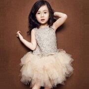 子供ドレス女の子フォーマルワンピースドレスチュチュワンピース姫チュールドレスシャンペン演出服パーティードレスキッズ用100−150cm