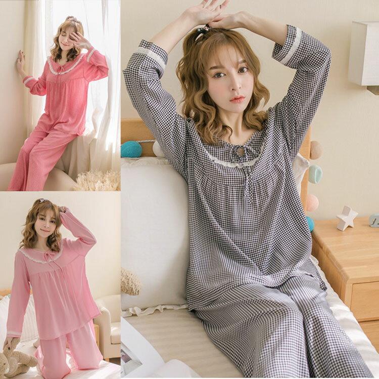 チェック パジャマ 上下セット レディース パジャマ 春夏 ネグリジェ 長袖 Tシャツ 韓国風 可愛い パジャマ ゆるゆる 寝巻き ルームウェア ローブ 部屋着