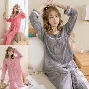 チェックパジャマ上下セットレディースパジャマ春夏ネグリジェ長袖Tシャツ韓国風可愛いパジャマゆるゆる寝巻きルームウェアローブ部屋着