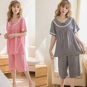 パジャマワンピースレディースストライプ綿パジャマ春夏ネグリジェ七分袖韓国風可愛いパジャマゆるゆる寝巻きルームウェアローブ部屋着