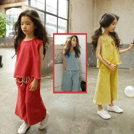 7474bacd2bf96 送料無料 親子ペア 親子服 子供服 2点セットノースリーブ Tシャツ ワイドパンツ