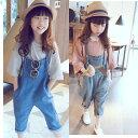 韓国子供服 ファッション 女の子 サロペット パンツ ズボン フォーマル 男の子 デニムオーバーオール オーバーオール パンツ カジュアル デニム ロングパンツ